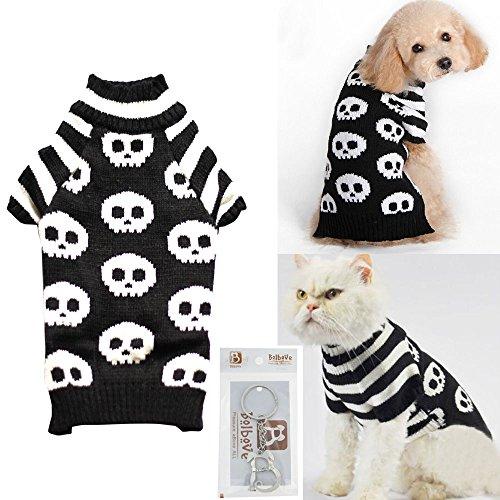 Bolbove Pet Skull Kabel Knit Rollkragen Pullover für Kleine Hunde & Katzen Skelett Strickwaren kaltem Wetter-Outfit, Large, Schwarz (Kabel-knit Sweater-stoff)