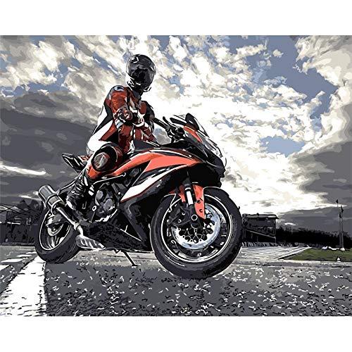 len Bilder Auf Leinwand Mann Fährt Motorrad Mit Acryl S,Rahmenlos 40X50Cm ()