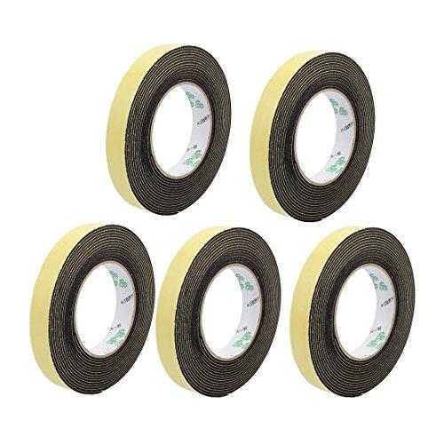 Tradico® 5Pcs 20mm x 2mm Super Strong Single Side EVA Sponge Foam Tape Black 5M Length