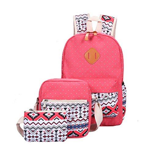 MYLL Sacchetto Di Spalla Dello Zaino Della Tela Di Canapa Delle Donne 3 Misura Le Borse Delle Signore Daypacks Work Bag O Il Sacchetto Di Viaggio Casuale,Red Red