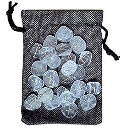 Juego de 25 runas en Cristal de Roca con Bolsa