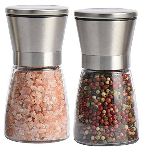 Laaks® Premium Salzmühle / Pfeffermühle im Set. Gewürzmühle aus Edelstahl und echtem Glas in edlem Design mit einstellbarem Keramikmahlwerk für Gewürze, Meersalz, Chili. Kräutermühle Streuer