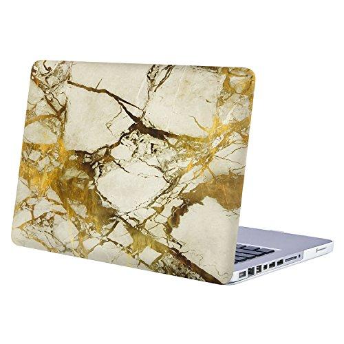 MOSISO Funda Dura para Old MacBook Pro 13 Pulgadas con CD-ROM A1278 (Versión 2012/2011/2010/2009/2008),Carcasa Rígida Protector de Plástico Cubierta, Mármol Blanco y Dorado