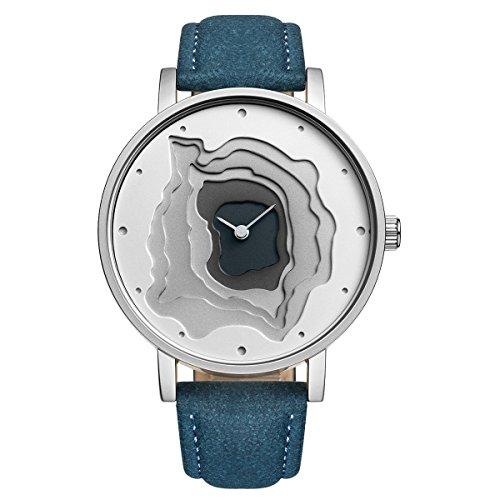 Orologio al quarzo automatico da donna, quadrante grande con motivo 3D,...