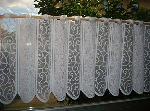 Gardine Scheibengardine Ranke in weiß für Fensterbreite 90 bis 140 cm Küchengardine aus edlem Jacquard mit schönem Fall - Ökotex geprüfte hochwertige Qualität …auspacken, aufhängen, fertig! Vorhang Romantic Chic Typ265