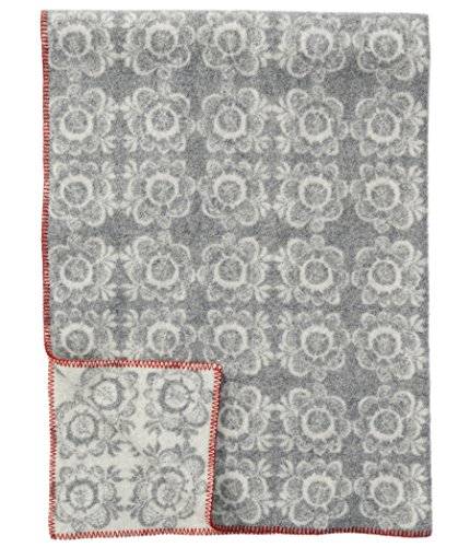 Klippan: Creme-hellgraue Jacquard Wolldecke 'Kurbits' aus Lammwolle 130x180cm umkettelt - ca 1,2kg u. 3 mm dick