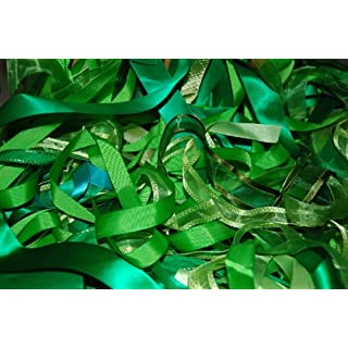 Assorted Green Ribbon, Approx 25m Per Bag by Anycraft-UK