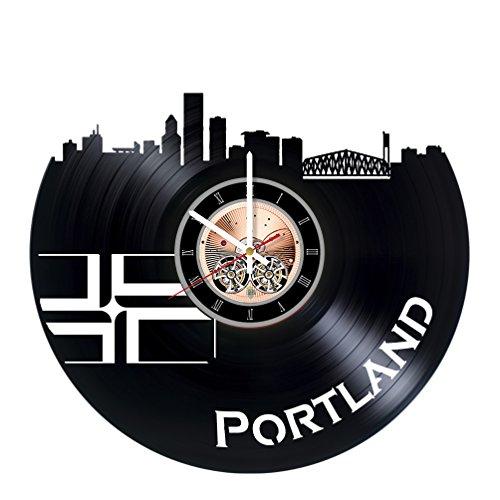 choma Portland Vinyl Schallplatte Wanduhr-Home Zimmer Oder Wohnzimmer Wand Decor-Geschenk Ideen für Freunde, Damen und Herren-City Einzigartige Art Design (Jersey City Party City)