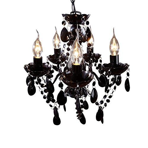 Lustre design baroque à 5 lumières en acrylique et métal coloris noir
