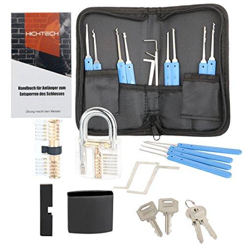 Lockpicking Lockpick Set Professionelles 19-Teiliges Dietrich Set mit 2 Transparentem Trainingsschlössern und Silikonhülle für Schlosserei, Anfänger und Profisrleicht von Hichtech