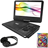 Sylvania 10-Inch Portable DVD Player With 5 Hour Battery Life (SDVD1030) + Bluetooth Bundle With Wireless Headphones