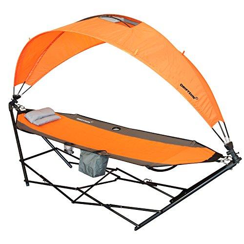 driftsun Tragbare Rasen, Terrasse und Camping Hängematte mit Dach für Sun Schutz und Komfort - Faltbare Hängematte Tragbare