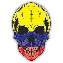 Skull Flag Colombia Alta Calidad De Coche De Parachoques Etiqueta Engomada 10 x 12 cm