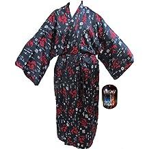 Kamikazi Takashi Japón japonés Yukata Robe Mens desgaste de la noche japonés hombres de noche vestidos de novia tradicional macho pijamas ropa de dormir Kimono 1tamaño Senior ligero y suave satén regalo ideal para todas las ocasiones