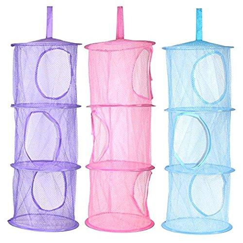 3pcs colgante malla bolsas ahorro espacio plegable