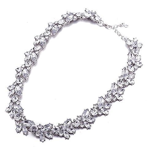 Vintage Bohemian Teardrop Pendant Opal Crystal Diamond Alloy Chunky Chain Short Necklace