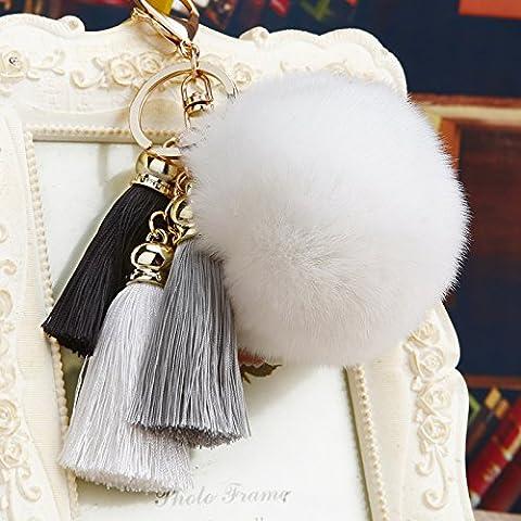 Corea dones creativos lindo coche perla colgante joyas bolsos llavero llavero fuzz bolas