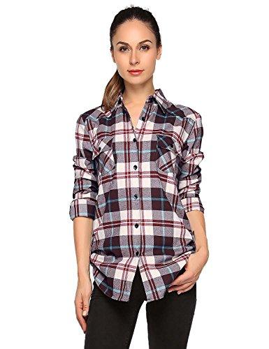 Match donna flanella plaid camicia #b003(2021 checks#17,xl)