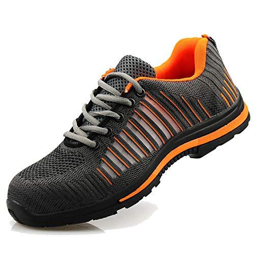 tqgold Uomo Donna Scarpe da Lavoro Antinfortunistiche con Punta in Acciaio S3 Estive Scarpe Sportive di Sicurezza Sneaker Stile(Grigio Arancio,38 EU