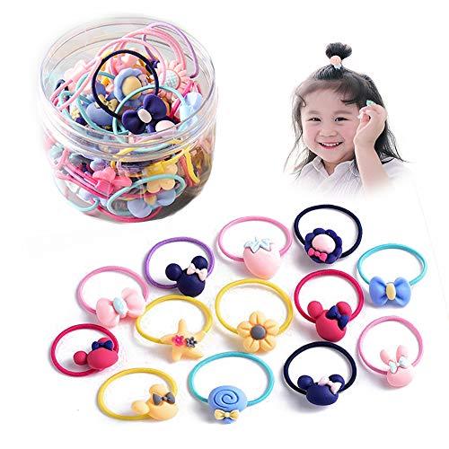 Zocone bambina elastici capelli, 60 pezzi (30 paia) bambina elastici per capelli elastici capelli per bambina per coda di cavallo trecce codini, con scatola portaoggetti