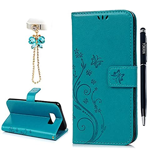YOKIRIN Case for Samsung Galaxy S8 Plus Case, [Wallet Case] Premium Soft PU Leather Notebook Style Embossed Flower Butterfly Design Case with Stand Function Card Holder and ID Slot for Samsung S8 Plus, Blue (& Stylus Touch Screen Pen & Dust Plug)