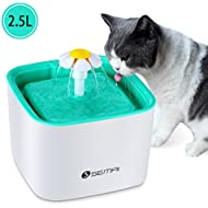 Semai Pet Water Fountain, 2.5L Dog&Cat Pet Fountain, Flower Style Pet Water Dispenser with 2PCS Carbon Filter (Green)
