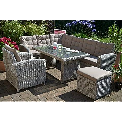 Manhattan - Set lounge ad angolo (divano angolare + tavolo + poltrona + sgabello) in polyrattan, colore sabbia e grigio naturale, per 8 persone
