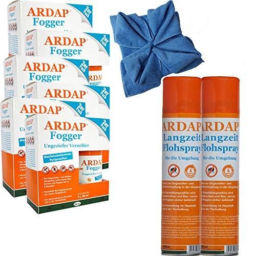 ARDAP Set 2 x 400 ml Flohspray + 8 x 100 ml Fogger gegen Flöhe + Microfasertuch -