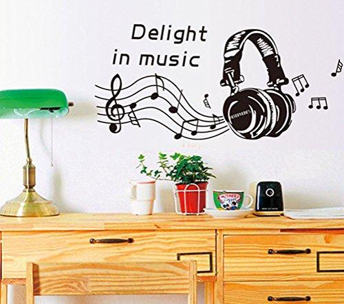 BIBITIME Musik Wand Aufkleber Noten Vinyl Aufkleber Tapete Grenze für Wohnzimmer Schlafzimmer Fenster Kindergarten Kids Room Decor Wandbild Reference Delight in Music Staff Headset