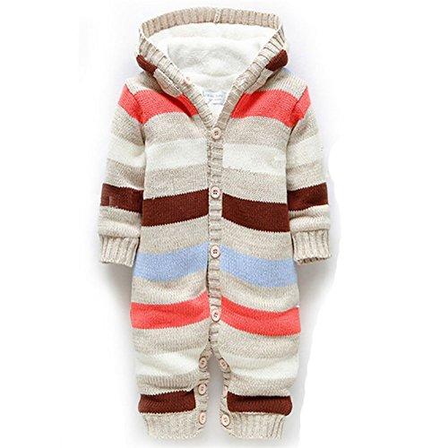 Aubiko Baby Unisex Strampler Kinder Winteroveralls Hochwertige Baumwolle One Piece Jumpsuit gestreift Overalls Baby Schlafanzug Baby Bekleidung für Weihnachten Kostüm