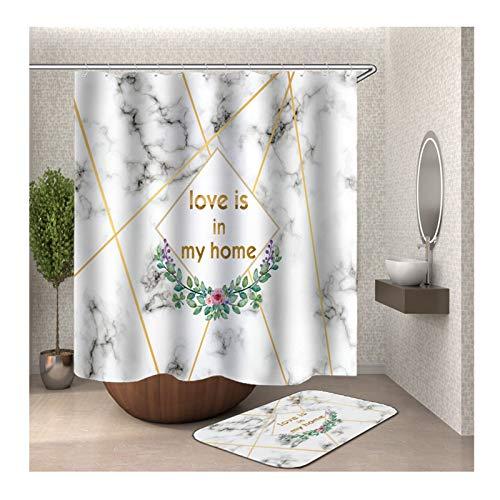 Beydodo Badematte Set 2 Teilig 120x180 Badvorhang Vintage, Marmor Muster Love is im My Home 40x60 cm Badematte WC Vorleger (Wc Im Spinnen)