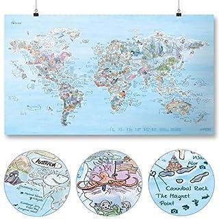 Dive Map von Awesome Maps - Illustrierte Weltkarte für Tauch-Fans - Wiederbeschreibbar - 97,5 x 56 cm