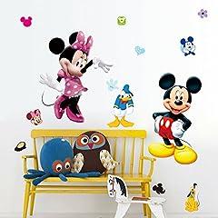 Idea Regalo - Kibi adesivi Muro Minnie Disney Adesivi Muro Mickey Mouse Adesivo Da Parete Minnie Camera Da Letto Bambini Stickers Muro Bambini Mickey Mouse Adesivi Muro Topolino Disney