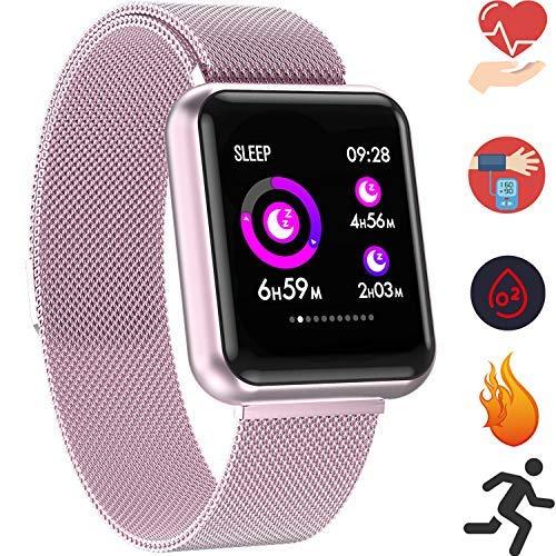 Braccialetto Intelligente FitnessTracker - IP67 Frequenza cardiaca Pressione sanguigna Ossigeno nel sangue misuratore calorie Monitoraggio del sonno Notifiche informazioni sincrono Phone ( RoseGold )