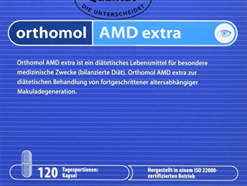 Orthomol AMD extra 120 Kapseln - Augen Vitamine gegen Makuladegeneration - Lutein & Zeaxanthin bei Makula Degeneration - Zeaxanthin Auge