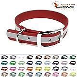 LENNIE BioThane Halsband, Dornschnalle, 25 mm breit, Größe 44-52 cm, Rot-Reflex, Aufdruck möglich