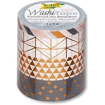 Folia Klebeband Washi Tape Reispapier Scrap Dekoband 4er Set Hotfoil Kupfer