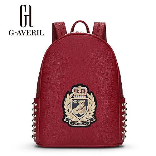 (G-AVERIL) Borse Nuovi chiusura lampo di modo di viaggio ragazza della scuola Borse borsa di cuoio Zaini PU Vino rosso