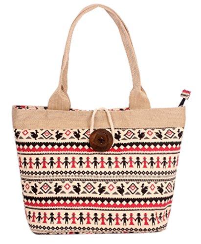 Fortunings JDS® Nuovo stile floreale tela stampata con disegno del tasto di legno borsa da lavoro borsa tote mano nella mano