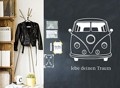Wandaro W3348 Wandtattoo lebe deinen Traum T1 Bus I schwarz I passend für Ikea Hemnes Kommode Aufkleber Möbelfolie Wandsticker Wandaufkleber (Ikea Schlafzimmer Schwarze Kommoden Für)