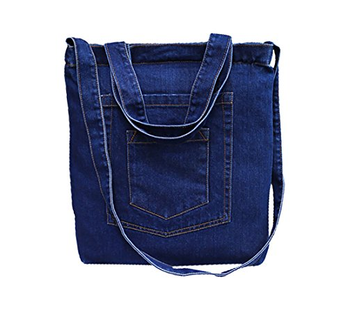 Crafeel Borse Tote Donna Borse a spalla Denim Tote Bags Blu Scuro (Z)
