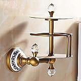 YYSCZJ Toilettenpapierhalterung, Badezimmer An Der Wand Montiert Abnehmbar Heimhotel, Antike Mode, Messing- Kristall, 102 * 160mm (Farbe : Gold)
