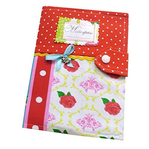 3-teilige  Mutterpasshülle Rosen rot//grün