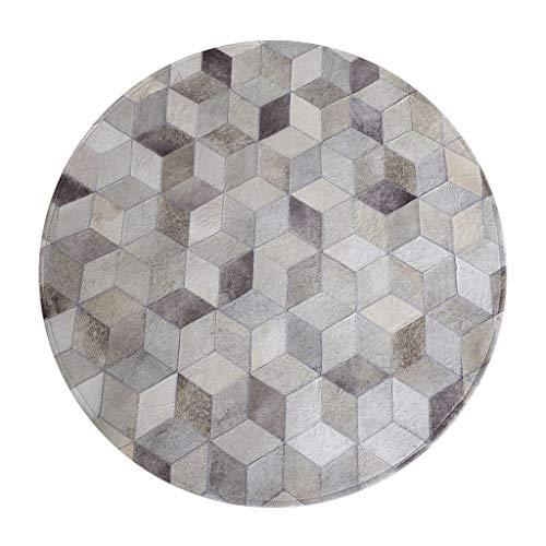 Teppich Studie Teppich schminktisch Teppich runde Teppich handnaht (Color : Gray, Size : Diameter 120CM)