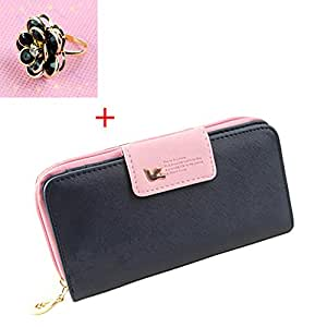 """BCL13 New Stylish Women&Girls Purses Sweetie Wallet Case Multi Purpose for Samsung Galaxy Note2 S3 S4 S5 iPhone 4/4s 5/5s 6(4.7"""") (Navy)"""