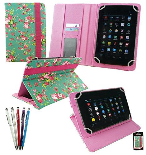 Emartbuy Set di 5 Doppia Funzione Stilo + Universale Serie Verde Rose Giardino PU Pelle Angolo Multi Esecutivo Wallet Portafoglio Custodia Case Cover con Scomparti per Carte di Credito adatto per Samsung Galaxy Tab 4 7.0 Pollice Tablet ( Wi-Fi / 3G / LTE Models )