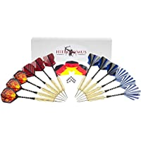 12 Dartpfeile 20g Steel Hieronymus Darts I Dart Pfeile Set Metallspitze 15 Flights I Steeldart Dart-Set Steeldarts 20 Gramm