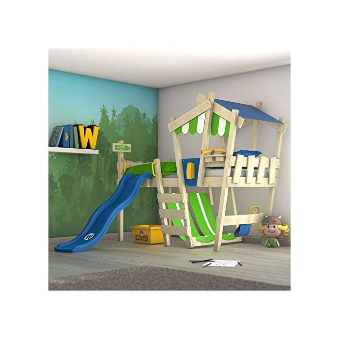 Wickey Kinderbett mit Rutsche Crazy Hutty Hochbett mit Dach Abenteuerbett mit Lattenboden 1