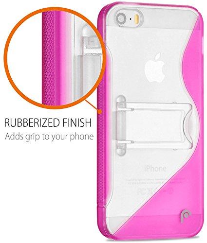 Fosmon HYBO-SK Hybride PC + TPU Case Cover hülle mit Stund für iPhone 5 / 5s / SE - Schwarz rose