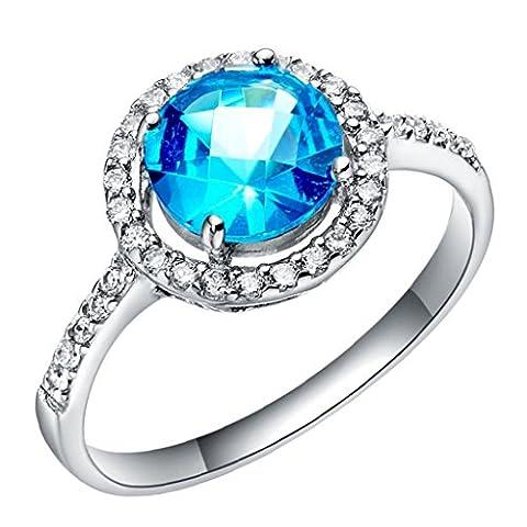 Epinki, 18k White Gold Plated Fashion Jewelry Rings Circular Sapphire Size N 1/2